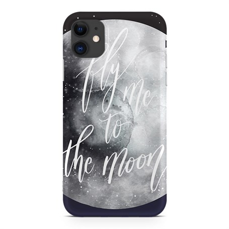 Apple iPhone 11 Desenli Silikon Resimli Kapak Fly Me To The Moon Kılıf