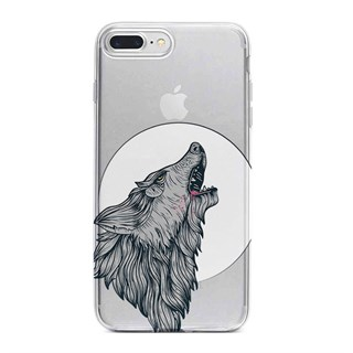 Apple iPhone 7 Plus Desenli Silikon Resimli Kapak Wolf Cartoon Kılıf