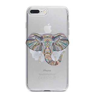 Apple iPhone 7 Plus Desenli Silikon Resimli Kapak Mandala Color Elephant Kılıf