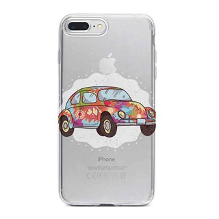 Apple iPhone 7 Plus Desenli Silikon Resimli Kapak Colorful Cars Kılıf