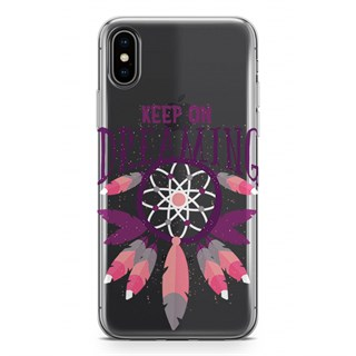Apple iPhone Xs Desenli Silikon Resimli Kapak Keep On Dreaming Kılıf
