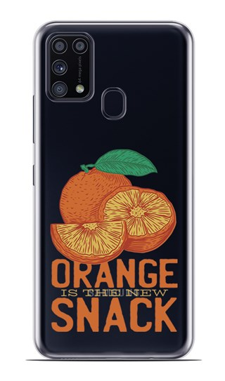 Samsung Galaxy M31 Desenli Silikon Resimli Kapak Orange is the Snack Kılıf